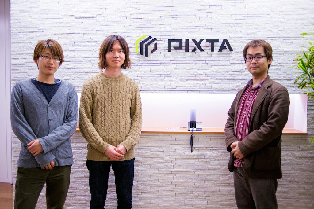 Members of Pixta. From the left, Mr.Saeki, Mr.Goto, and Mr.Sato